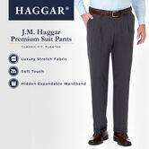 J.M. Haggar Premium Stretch Suit Pant - Pleated Front, Medium Grey, hi-res