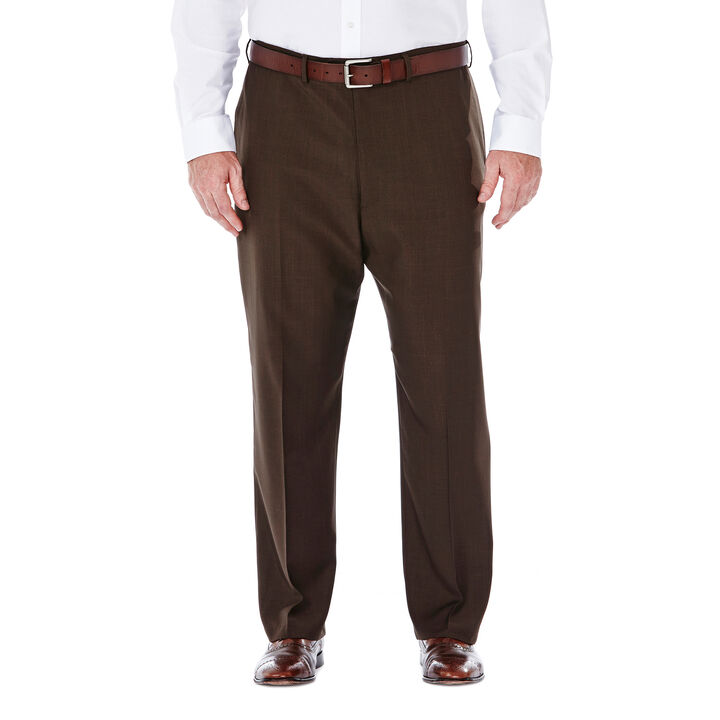 Big & Tall E-CLO™ Stria Dress Pant, Brown, hi-res