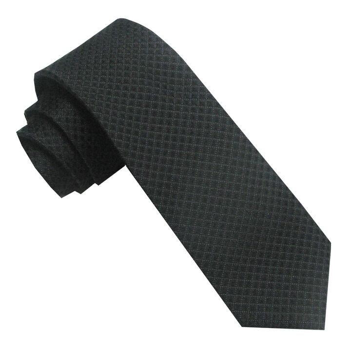 Woven Solid Texture Tie, Black, hi-res