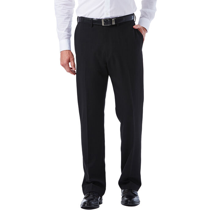 Big & Tall E-CLO™ Tonal Plaid Dress Pant, Black, hi-res