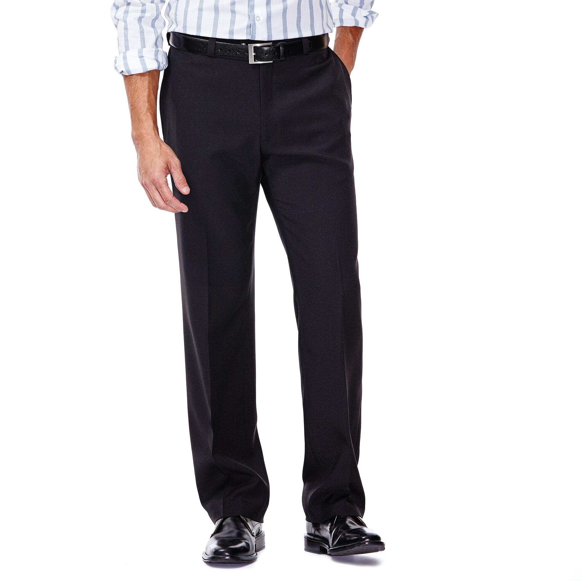 Mens black beltless dress pants