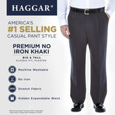 Big & Tall Premium No Iron Khaki, Dark Grey, hi-res 5