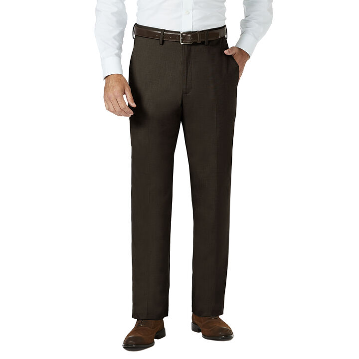 J.M. Haggar Dress Pant - Sharkskin, Chocolate, hi-res