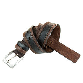 Two Toned Stitch Detail Belt, Brown