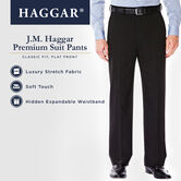 J.M. Haggar Premium Stretch Suit Pant - Flat Front, Black, hi-res