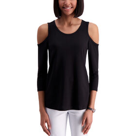 Flutter Sleeve Scoop Neck Top, Charcoal
