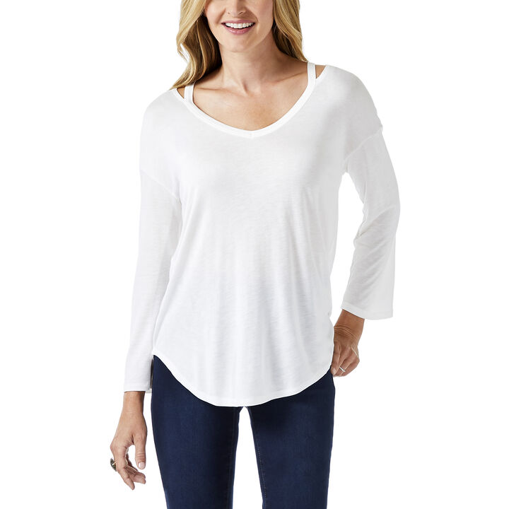 3/4 Sleeve Neck Detail Top, Cream, hi-res