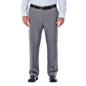 Big & Tall Performance Microfiber Slacks, Micro Plaid, Light Grey