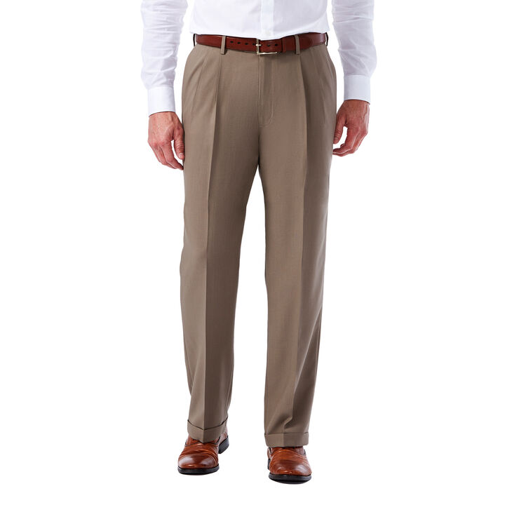 Big & Tall E-CLO™ Glen Plaid Dress Pant, British Khaki, hi-res