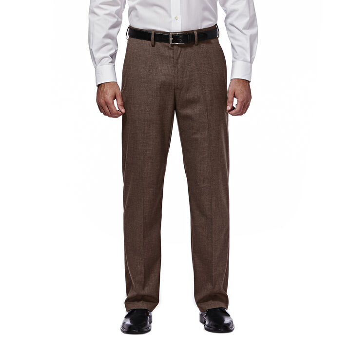 J.M. Haggar Premium Stretch Suit Pant - Flat Front, Chocolate, hi-res