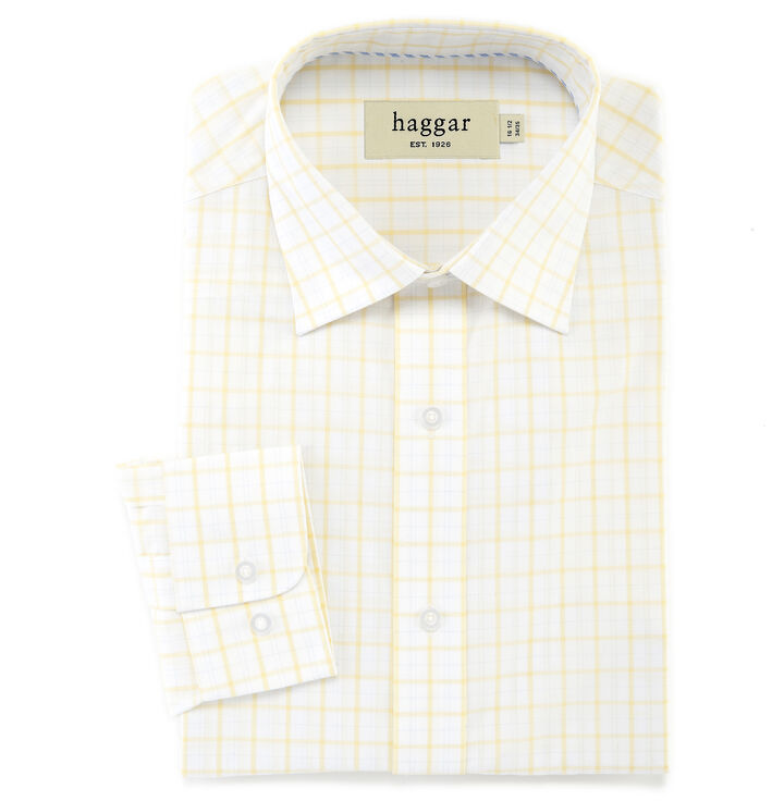 Double Windowpane Poplin Dress Shirt, Light Yellow, hi-res