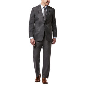 Haggar Check Sport Coat, Heather Grey