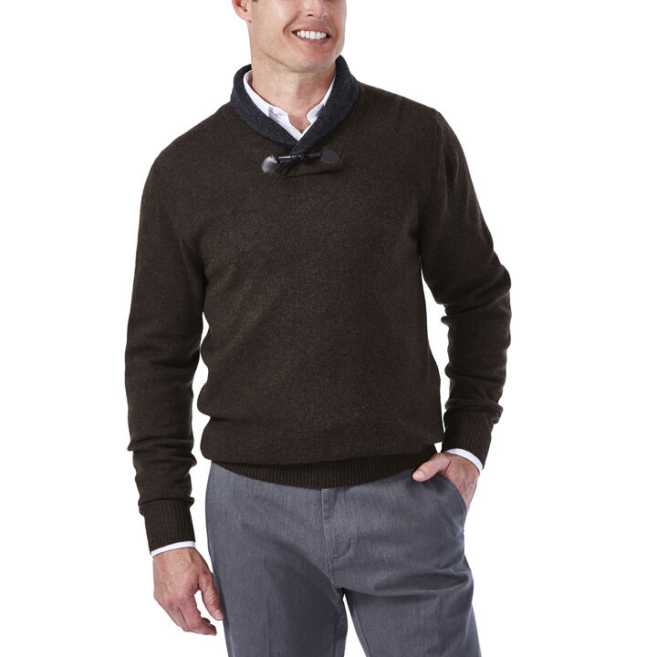 Contrast Shawl Collar with Toggle Sweater, , hi-res