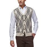 Long Sleeve Exploded Argyle Button Front Vest, , hi-res 1
