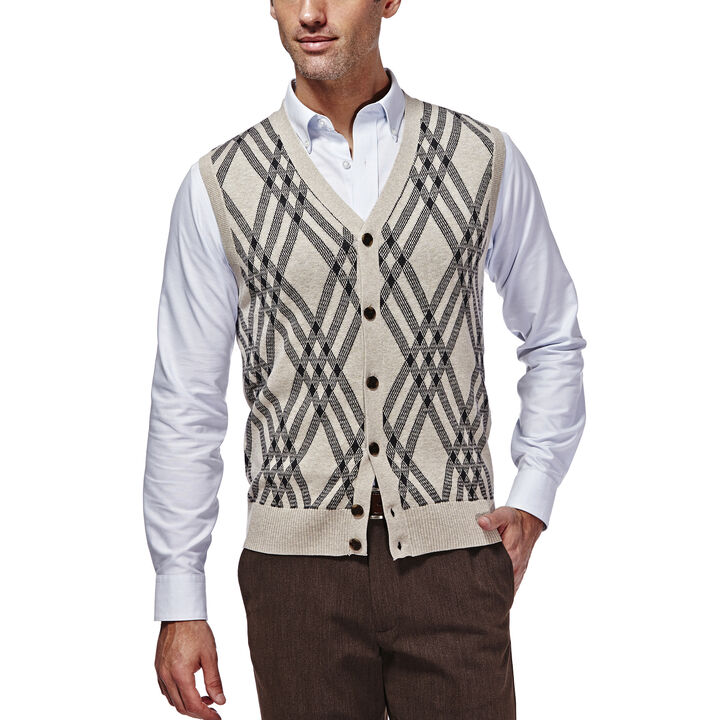 Long Sleeve Exploded Argyle Button Front Vest, , hi-res