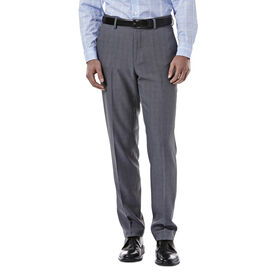 E-CLO™ Stretch Heathered Plaid Slack, Medium Grey