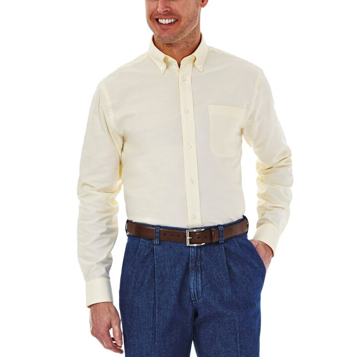 Solid Oxford Dress Shirt, Light Yellow, hi-res