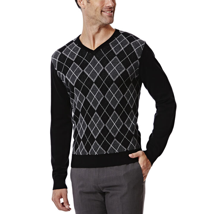 Long Sleeve Argyle Sweater, , hi-res