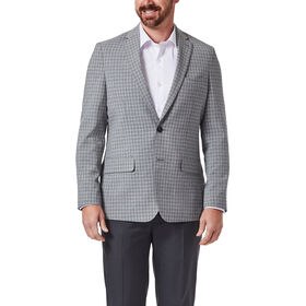 Small Grid Sport Coat, Heather Grey