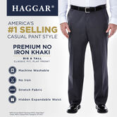 Big & Tall Premium No Iron Khaki, Dark Navy, hi-res 5