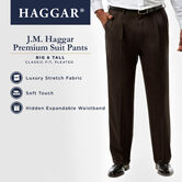 Big & Tall J.M. Haggar Premium Stretch Suit Pant - Pleated Front, Chocolate, hi-res