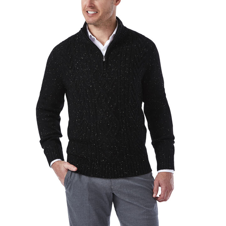 1/4 Zip Mock Neck Cable Knit Sweater, , hi-res