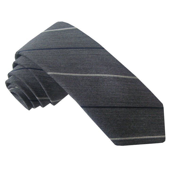 Wool Blend Wide Stripe Tie, Heather Grey, hi-res