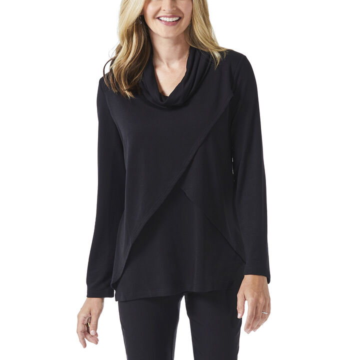 Long Sleeve Cowl Neck Top, Charcoal, hi-res