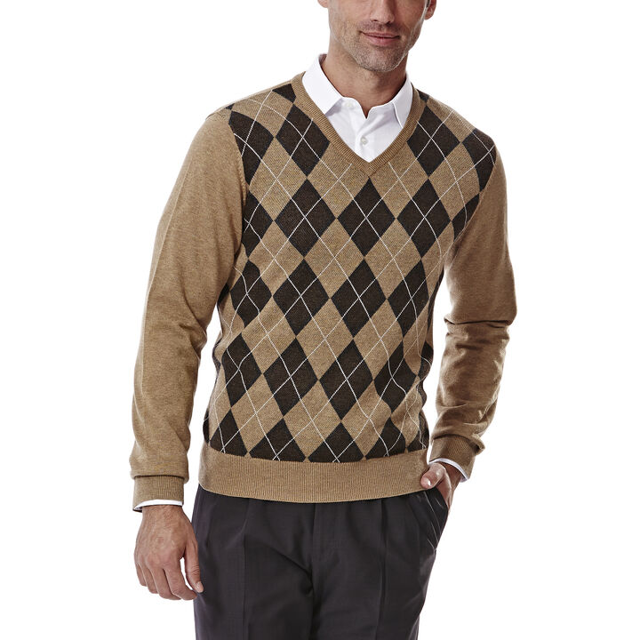 V Neck Argyle Sweater, Camel, hi-res