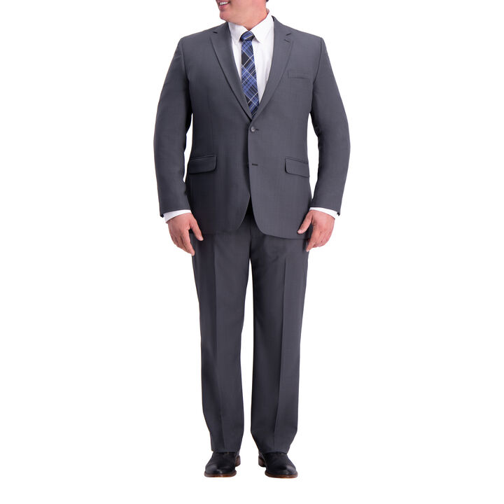 Big & Tall Travel Performance Stria Tic Weave Suit Jacket, Dark Heather Grey, hi-res