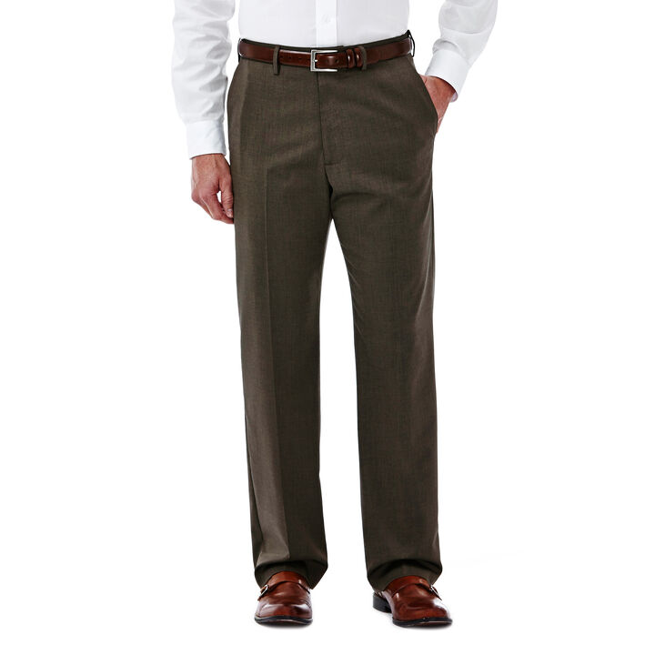 Big & Tall Premium Stretch Solid Dress Pant, Medium Brown open image in new window