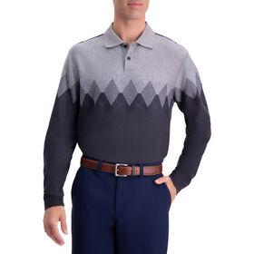 Arglye Chest Stripe Long Sleeve Knit Polo, Black / Charcoal
