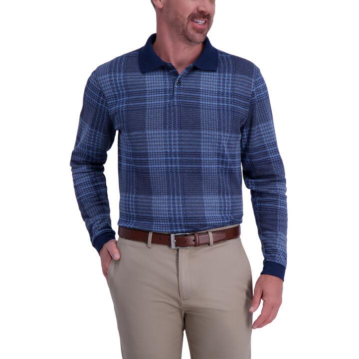 Houndstooth Long Sleeve Polo,  London Blue