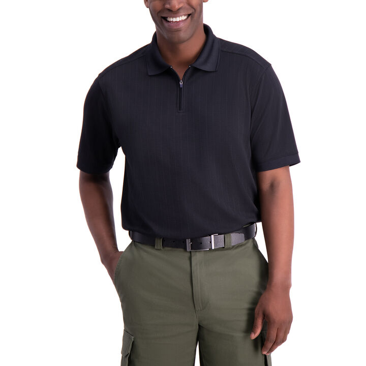 Waffle Golf Polo, Black open image in new window