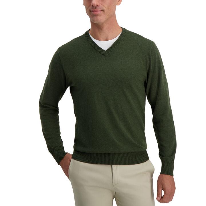 V-Neck Basic Sweater, Fern Heather