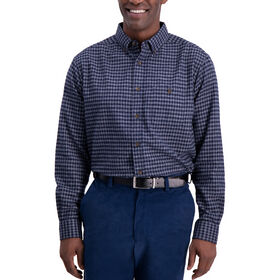 Heathered Gingham Shirt, Navy