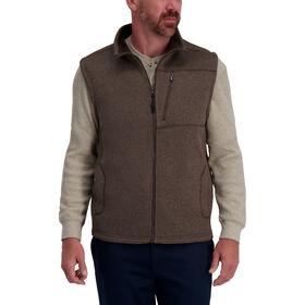 Bonded Fleece Sweater Vest, Heather Brown