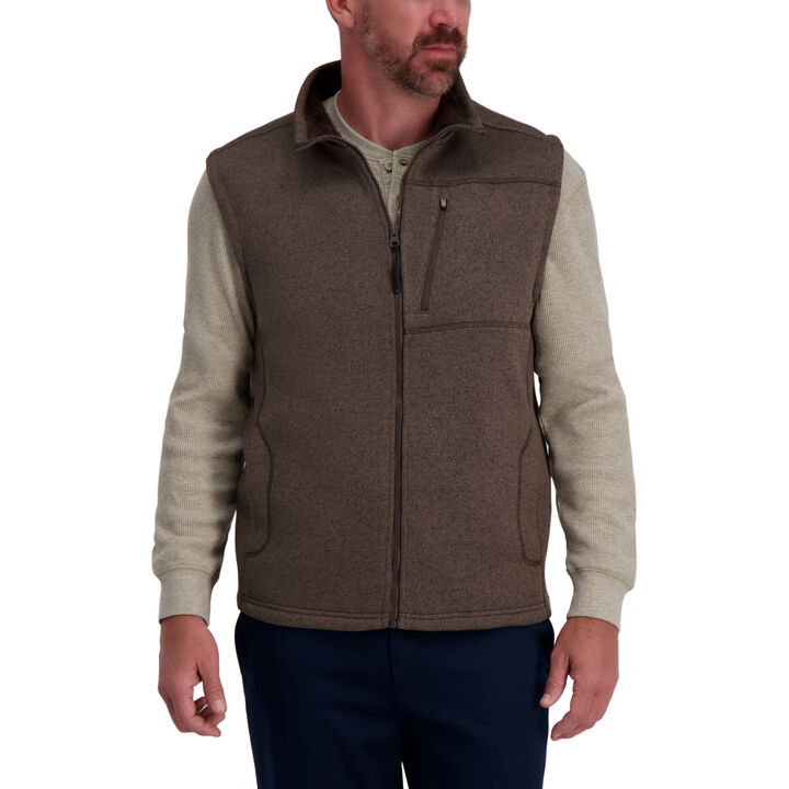 Bonded Fleece Sweater Vest,  Walnut