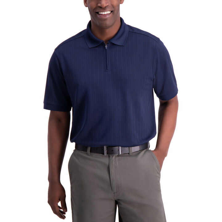 Waffle Golf Polo, Navy open image in new window