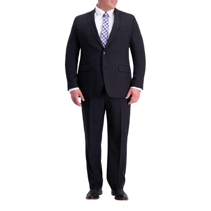Big & Tall Travel Performance Heather Twill Suit Jacket, Black, hi-res