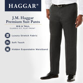 Big & Tall J.M. Haggar Premium Stretch Suit Pant - Flat Front, Medium Grey, hi-res