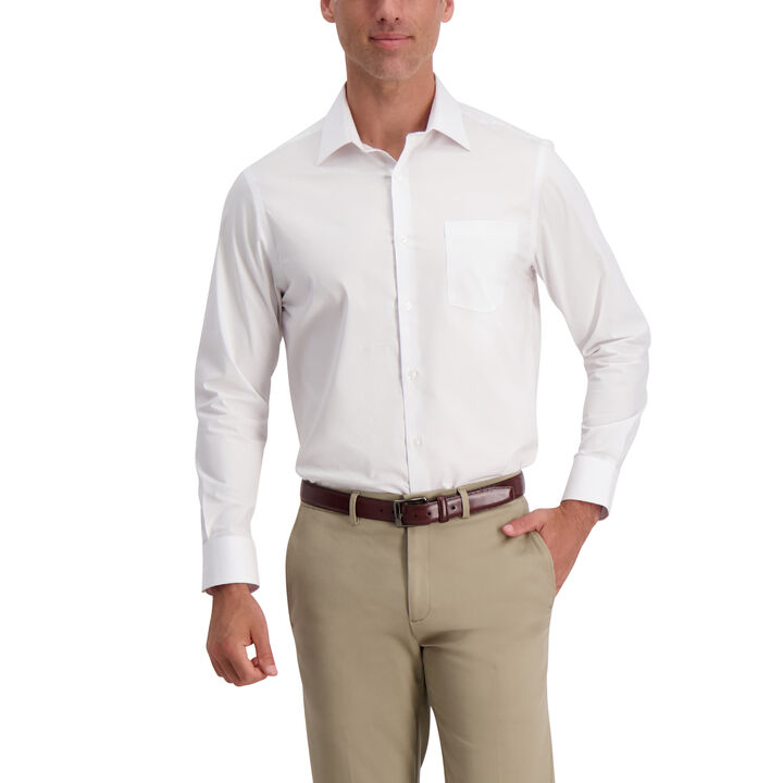 White Premium Comfort Dress Shirt, White