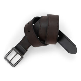 Marble Leather Belt, Dark Brown
