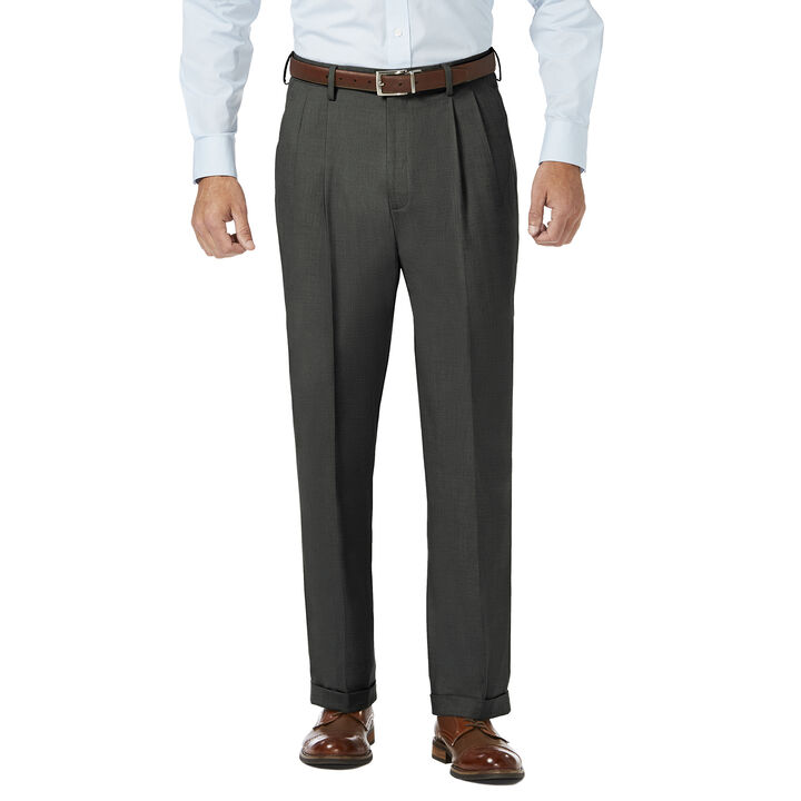 J.M. Haggar Dress Pant - Sharkskin, Medium Grey open image in new window