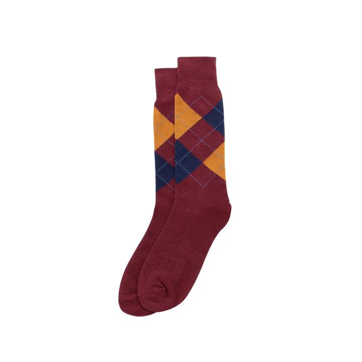Overplaid Argyle Sock, Burgundy