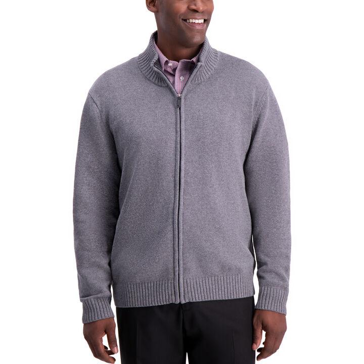 Solid Full Zip Sweater, Grey