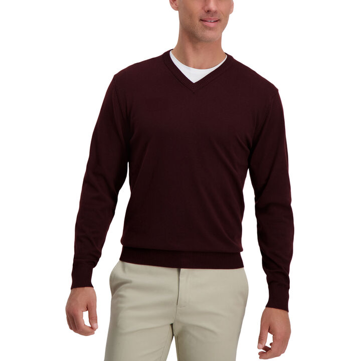V-Neck Basic Sweater, Dark Red open image in new window