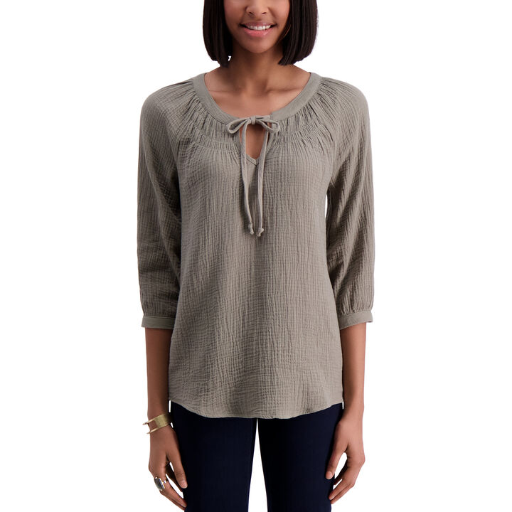 Raglan 3/4 Sleeve Blouse, Aloe