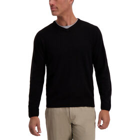 Textured Diamond V-Neck Sweater, Black