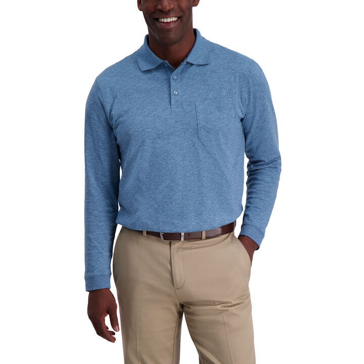 Solid Heather Long Sleeve Polo, Copen Blue